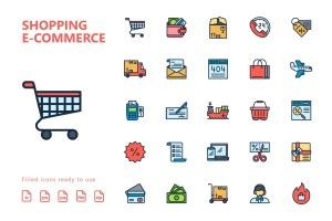 25枚网上购物电子商务矢量填充色一流设计素材网精选图标v1 Shopping E-Commerce Filled Icons插图2