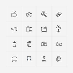 电影相关主题矢量线性一流设计素材网精选图标 Line Vector Cinema Icons插图(1)