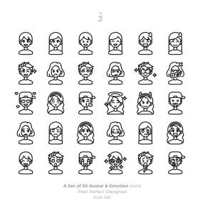 30枚彩色人物头像&表情矢量一流设计素材网精选图标 30 Avatar and Emotion Icons插图(3)