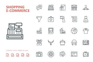 25枚网上购物电子商务矢量线性一流设计素材网精选图标v2 Shopping E-Commerce Line Icons插图2