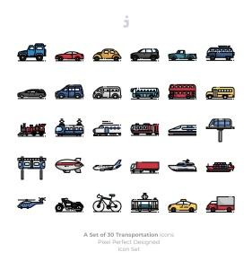30枚现代交通工具矢量一流设计素材网精选图标 30 Transportation Icons插图(2)