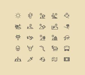 25枚沙漠主题矢量线性一流设计素材网精选图标 25 Desert Line Vector Icons插图(1)