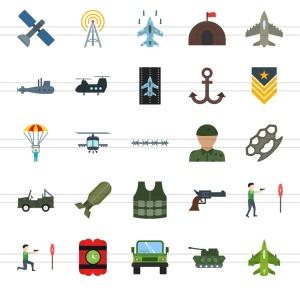 50枚军队装备主题扁平化多彩矢量一流设计素材网精选图标 II 50 Military Flat Multicolor Icons Season II插图3