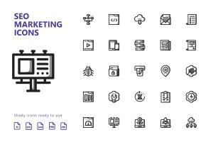 25枚SEO搜索引擎优化营销矢量阴影一流设计素材网精选图标v1 SEO Marketing Shady Icons插图2