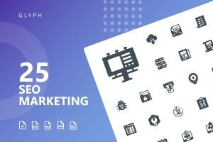 25枚SEO搜索引擎优化营销矢量字体一流设计素材网精选图标v1 SEO Marketing Glyph Icons插图1