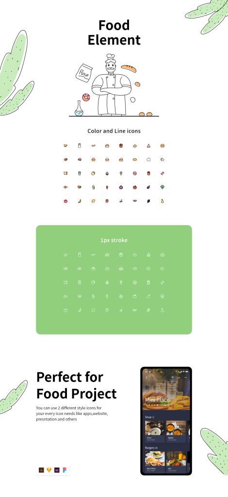 一流设计素材网下午茶:40枚食物主题元素一流设计素材网精选图标插图
