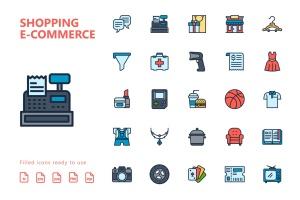 25枚网上购物电子商务矢量填充色一流设计素材网精选图标v2 Shopping E-Commerce Filled Icons插图(2)