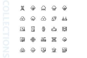 网络科技主题矢量阴影一流设计素材网精选图标 Network Shady Icons插图(4)