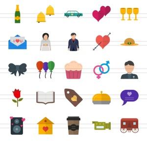 50枚婚礼婚宴主题扁平设计风彩色一流设计素材网精选图标 II 50 Wedding Flat Multicolor Icons Season II插图3