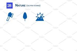 28个大自然元素字体一流设计素材网精选图标 28 Nature Glyph Icons插图3
