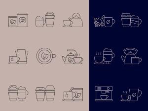 咖啡&茶文化主题矢量线性一流设计素材网精选图标 Coffee and Tea Vector Icons插图2