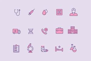 15枚医院&诊所主题矢量线性一流设计素材网精选图标 15 Hospital Icons插图2