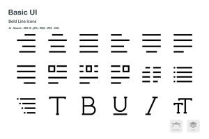 基础UI设计操作选项矢量线性一流设计素材网精选图标 Basic User Interface Mini Bold Line Vector Icons插图5