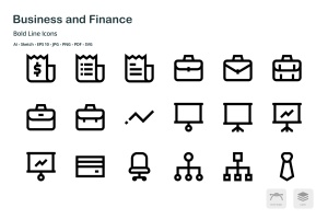 商业&金融主题粗线条风格矢量一流设计素材网精选图标 Business and Finance Mini Bold Line Icons插图1
