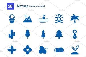 28个大自然元素字体一流设计素材网精选图标 28 Nature Glyph Icons插图2