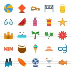 50枚夏天主题扁平化多彩矢量一流设计素材网精选图标 II 50 Summer Flat Multicolor Icons Season II插图2