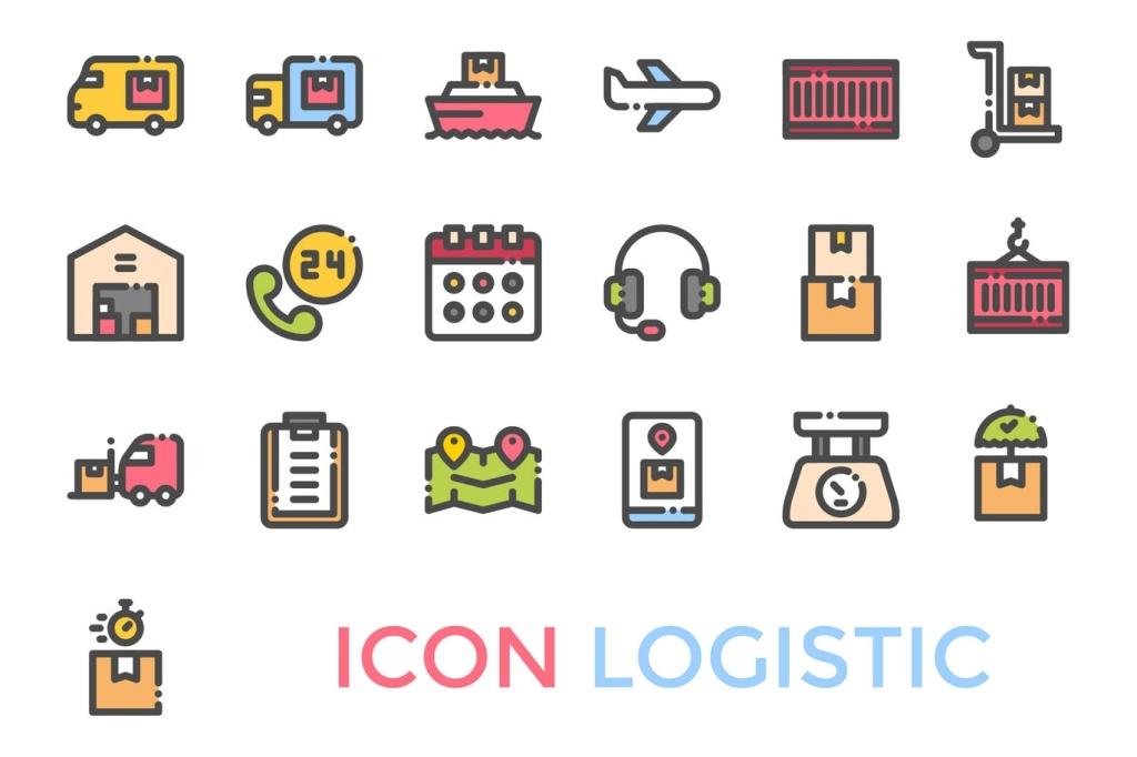 19枚物流配送主题矢量一流设计素材网精选图标 Logistics Icon插图