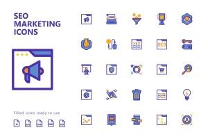 25枚SEO搜索引擎优化营销矢量填充一流设计素材网精选图标v2 SEO Marketing Filled Icons插图2