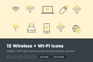 15枚无线网络&WIFI主题矢量一流设计素材网精选图标 15 Wireless & Wi-Fi Icons插图1