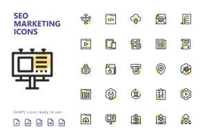 25枚SEO搜索引擎优化营销矢量圆点装饰一流设计素材网精选图标v1 SEO Marketing Shape Icons插图2