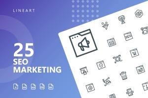 25枚SEO搜索引擎优化营销矢量线性一流设计素材网精选图标v2 SEO Marketing Line Icons插图1