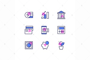 商业&金融主题线性设计风格矢量一流设计素材网精选图标 Business and finance – line design style icons set插图2