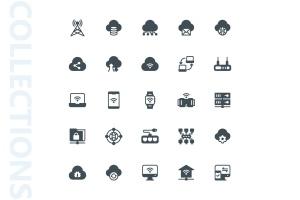 网络科技主题矢量字体一流设计素材网精选图标 Network Glyph Icons插图(3)