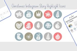 圣诞节主题矢量手绘一流设计素材网精选图标素材 Christmas Instagram highlight story icons插图2