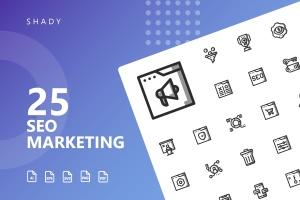 25枚SEO搜索引擎优化营销矢量阴影一流设计素材网精选图标v2 SEO Marketing Shady Icons插图1