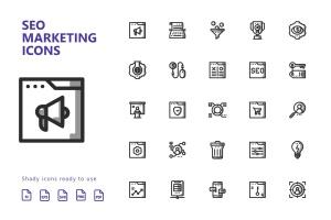 25枚SEO搜索引擎优化营销矢量阴影一流设计素材网精选图标v2 SEO Marketing Shady Icons插图2