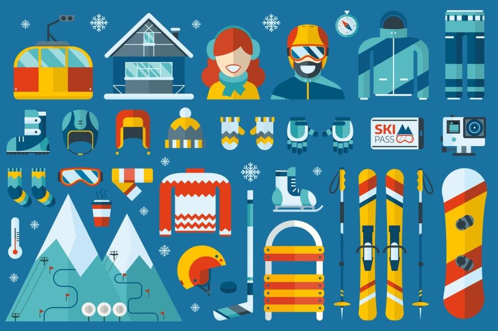 冬季运动主题扁平化矢量一流设计素材网精选图标 Winter Sports Flat Icons插图