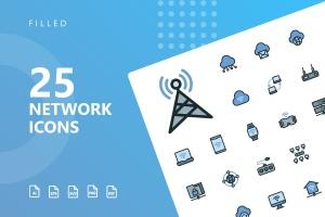 网络科技主题矢量填充一流设计素材网精选图标 Network Filled Icons插图1