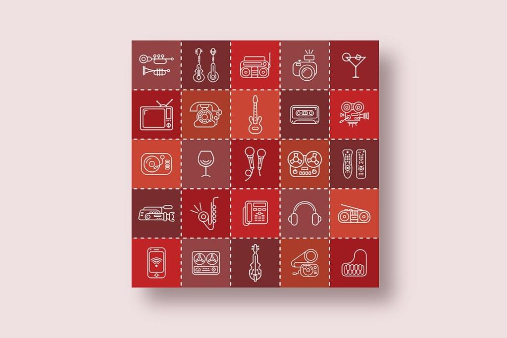 音乐/多媒体主题矢量线性一流设计素材网精选图标 Three options of the Line Art Vector Icon Set插图