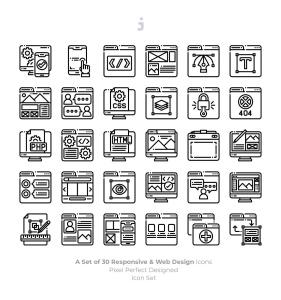 30枚彩色响应式网站设计矢量一流设计素材网精选图标 30 Responsive & Web Design Icons插图3