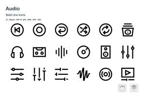 音频/多媒体播放主题矢量线性一流设计素材网精选图标 Audio Mini Bold Line Vector Icons插图3