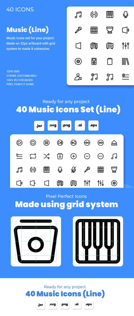 一流设计素材网下午茶:音乐主题线条一流设计素材网精选图标合集插图