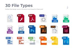 30种文件格式扁平设计风格一流设计素材网精选图标 30 File Types Icons – Flat插图1
