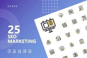 25枚SEO搜索引擎优化营销矢量圆点装饰一流设计素材网精选图标v1 SEO Marketing Shape Icons插图1