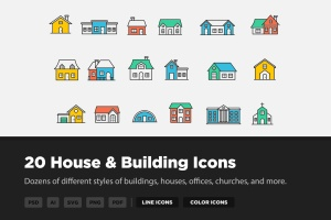 20枚房子&建筑主题矢量线性一流设计素材网精选图标 20 House & Building Icons插图1