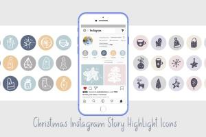 圣诞节主题矢量手绘一流设计素材网精选图标素材 Christmas Instagram highlight story icons插图1