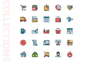 25枚网上购物电子商务矢量填充色一流设计素材网精选图标v1 Shopping E-Commerce Filled Icons插图4