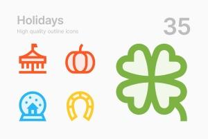 35枚节日主题轮廓线条矢量一流设计素材网精选图标 Holidays插图(1)