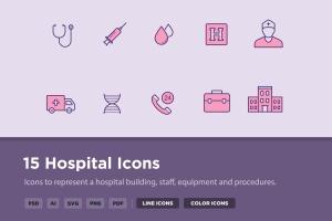 15枚医院&诊所主题矢量线性一流设计素材网精选图标 15 Hospital Icons插图1