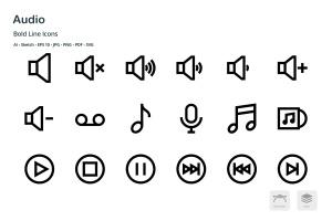 音频/多媒体播放主题矢量线性一流设计素材网精选图标 Audio Mini Bold Line Vector Icons插图1