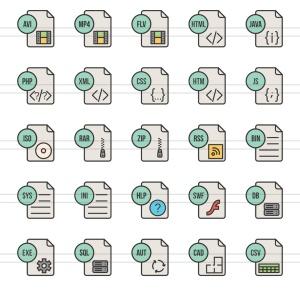 50枚文件格式填充线性一流设计素材网精选图标 II 50 File Formats Filled Line Icons Season II插图(3)
