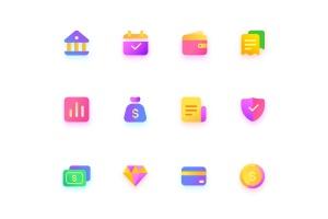 金融/钱包/银行主题彩色矢量一流设计素材网精选图标 Colorful Finance, wallet, bank, Illustration Icons插图3
