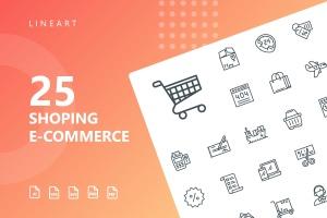 25枚网上购物电子商务矢量线性一流设计素材网精选图标v1 Shopping E-Commerce Line Icons插图1