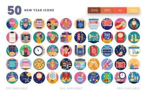50枚新年主题圆形矢量一流设计素材网精选图标素材 New year icons插图2