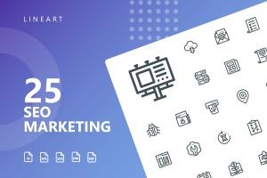 25枚SEO搜索引擎优化营销矢量线性一流设计素材网精选图标v1 SEO Marketing Line Icons插图(1)