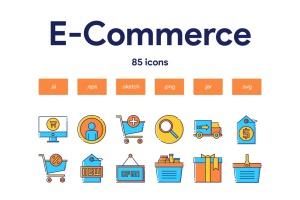 85枚电子商务主题矢量一流设计素材网精选图标 E-Commerce Icon Set插图(1)